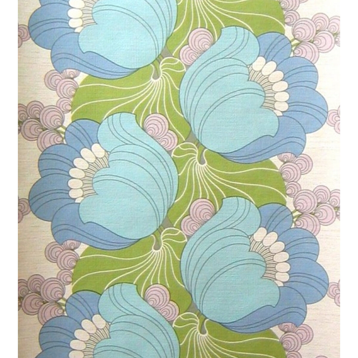 Groovin To the Blaus Vintage Flowers Wallpaper Retro Orignal Floral 1960s 1970s