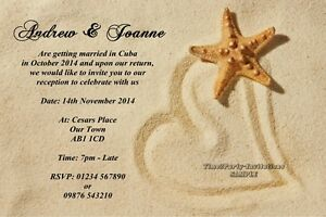 Personalised Beach Wedding Invitations Married Abroad Reception