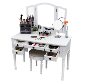 Makeup Vanity.Details About Vanity Set For Girls Teen With Mirror White Mirrored Desk Makeup Table Stool