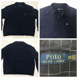 Polo-Ralph-Lauren-Harrington-Jacket-Plaid-Lined-Navy-Blue-Pony-Logo-MENS-2XB