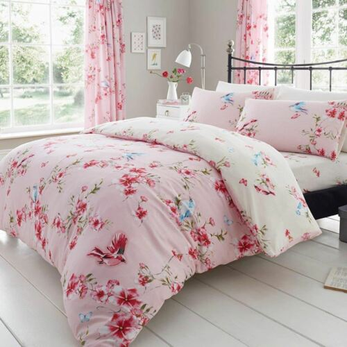 Birdie Blossom King Taille Housse Couette /& Taie D/'oreiller Fleurs Rose Réversible