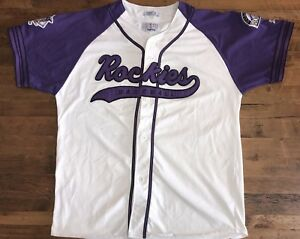 new concept c944d 47768 Details about Vintage Colorado Rockies Baseball Jersey Sewn Throwback  Script Size XL Starter