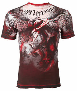 Affliction Men T Shirt Upward Angel Wings Red Tattoo Biker Gym Mma Ufc Jeans 63 Ebay