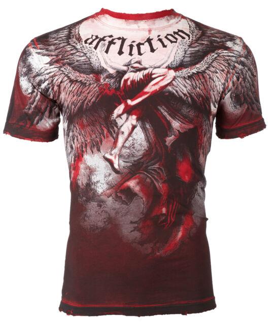 AFFLICTION Men T-Shirt UPWARD Angel Wings RED Tattoo Biker Gym MMA UFC Jeans $63