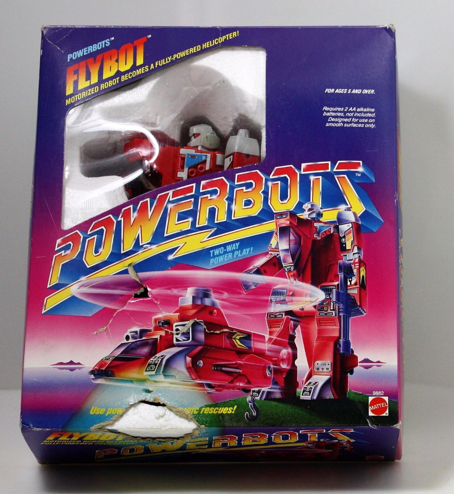 In Box Mattel Powerbots Transforming 1986 Flybot Helicopter