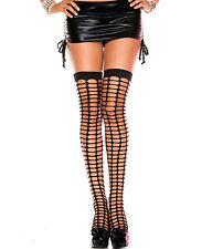 Black Oval Net Plain Top Thigh Hi Lycra Stockings Sexy Designer Lingerie P4442