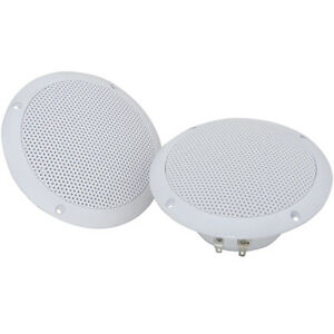 Pair waterproof ceiling speakers 80w 4ohm 5 kitchen bathroom water resistant ebay for Ceiling speakers for bathroom