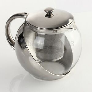 900ML Stainless Steel Glass TeaPot With Tea Leaf Strainer Filter Infuser Silver