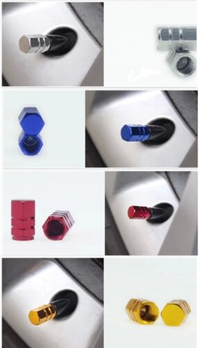 4 X TAPPI Polvere Valvola in Alluminio//Blu Chrome//Auto Moto Van BMX Polvere Tappi in Metallo