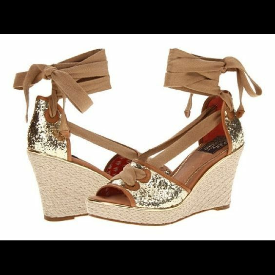 New   Milly for Sperry Top-Side  7.5   gold shoes Wedges Espadrilles