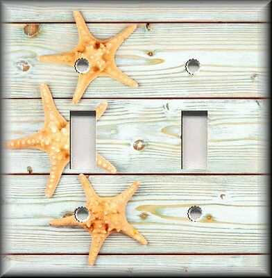 Beach Home Decor - Starfish On Wood Planks - Light Switch Plate Cover -