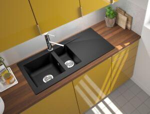 Details zu Küchenspüle Spüle Einbauspüle Granit Spülbecken Küche 100 x 50  schwarz respekta
