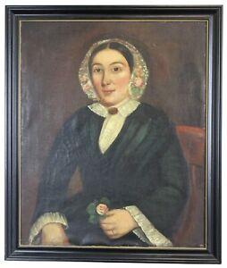 Antique 19th C English Victorian Woman Portrait Oil Painting Henry James Barrett