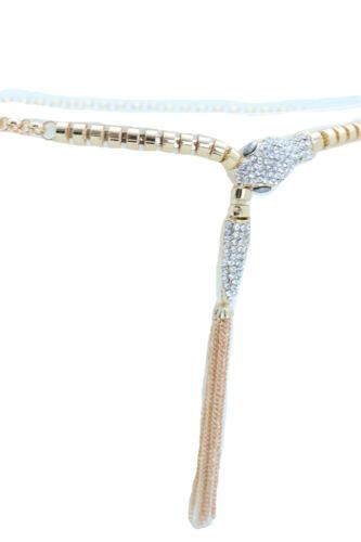 Women Hip High Waist Narrow Fashion Belt Elegant Gold Metal Chain Snake XS S M
