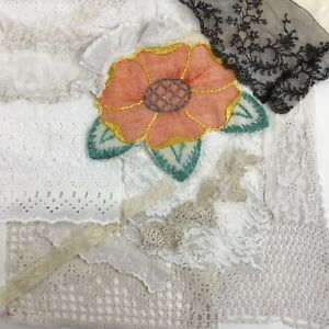 Antique-Vintage-Lace-Scraps-Lot-Victorian-Mid-Century-Bits-Pieces-Collage