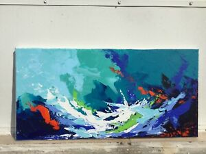 """Abstract Painting on Canvas Acrylic Original Art Blue Teal White Green 10""""x20"""""""