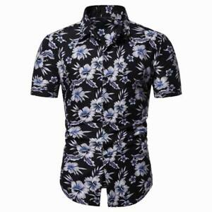 Formal-floral-men-039-s-short-sleeve-stylish-summer-t-shirt-luxury-casual-slim-fit