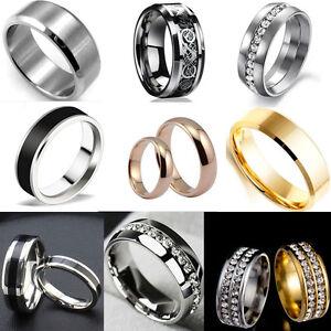 MEN-039-S-Women-039-s-Stainless-Steel-Engagement-Wedding-Band-Ring-Set-Size-6-12