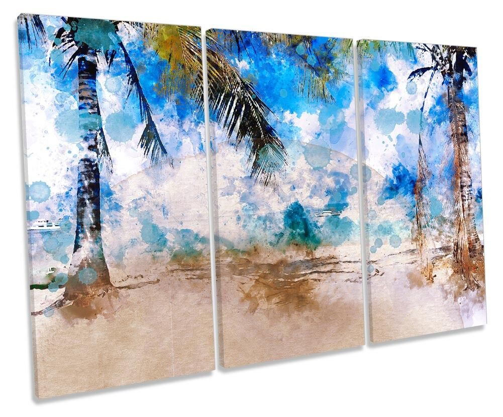 Blau Beach Palm Trees Modern TREBLE CANVAS Wand KunstWORK Drucken Kunst