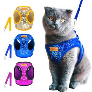 Bling-Sequins-Cat-Dog-Harness-amp-Lead-Puppy-Kitten-Walking-Harnesses-Vest-S-M-L