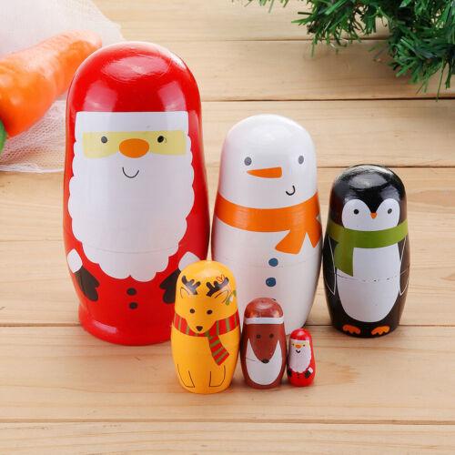 Christmas Santa Claus Wooden Russian Nesting Dolls Stacking Matryoshka Doll Set