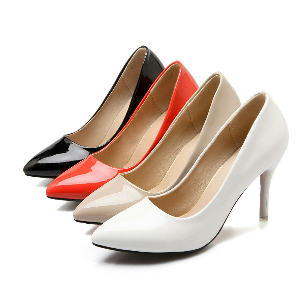 Women's High Heel shoes Candy Colour Synthetic Leather Pointy Pumps UK Size D017