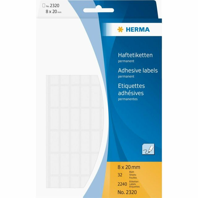 [Ref:2320] HERMA Etiquettes multi-usage, 8 x 20 mm, blanc Pack de 2240