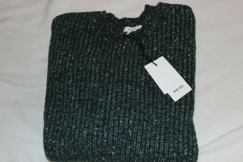 Reiss Men/'s Green Knit Wool Blend Crew Neck Pullover Sweater NWT $240 Size M