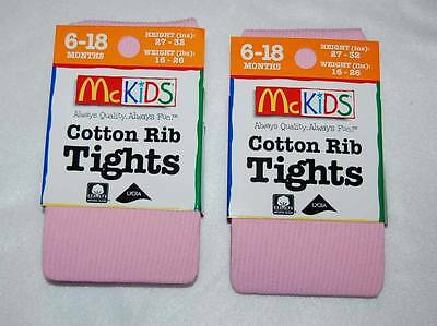 McKids FASHION TIGHTS  Toddler Girls 2 Pair Lot 6-18 MO WHITE HEART PATTERN