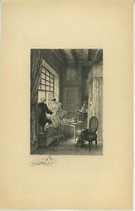 ANTIQUE COURTING ROMANCE MAN WOMAN WINE BREAD DINNER REMARQUE ETCHING ART PRINT