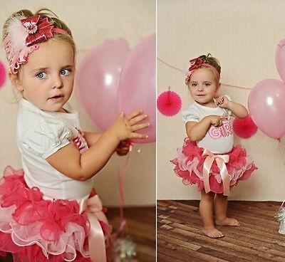 2Pcs Baby Girls Kids Children Tshirt+Skirt Tutu Dress Clothes Set Birthday Gift