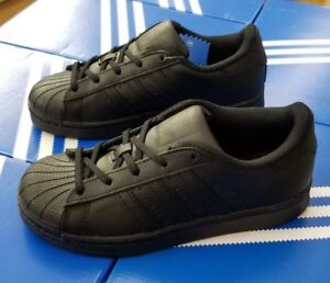separation shoes cb3a0 64e36 Details about ADIDAS SUPERSTAR FOUNDATION C BA8381 BLACK/BLACK PRESCHOOL