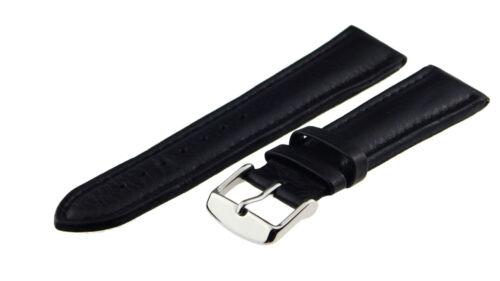 22-20-18mm Uhrenarmband Lederband Lederarmband Kamel-Narbung Schwarz NEU