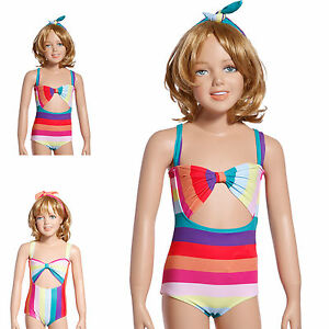 Kids Rainbow Bikini Set Swimwear Swimsuit Girls Fancy Swimming
