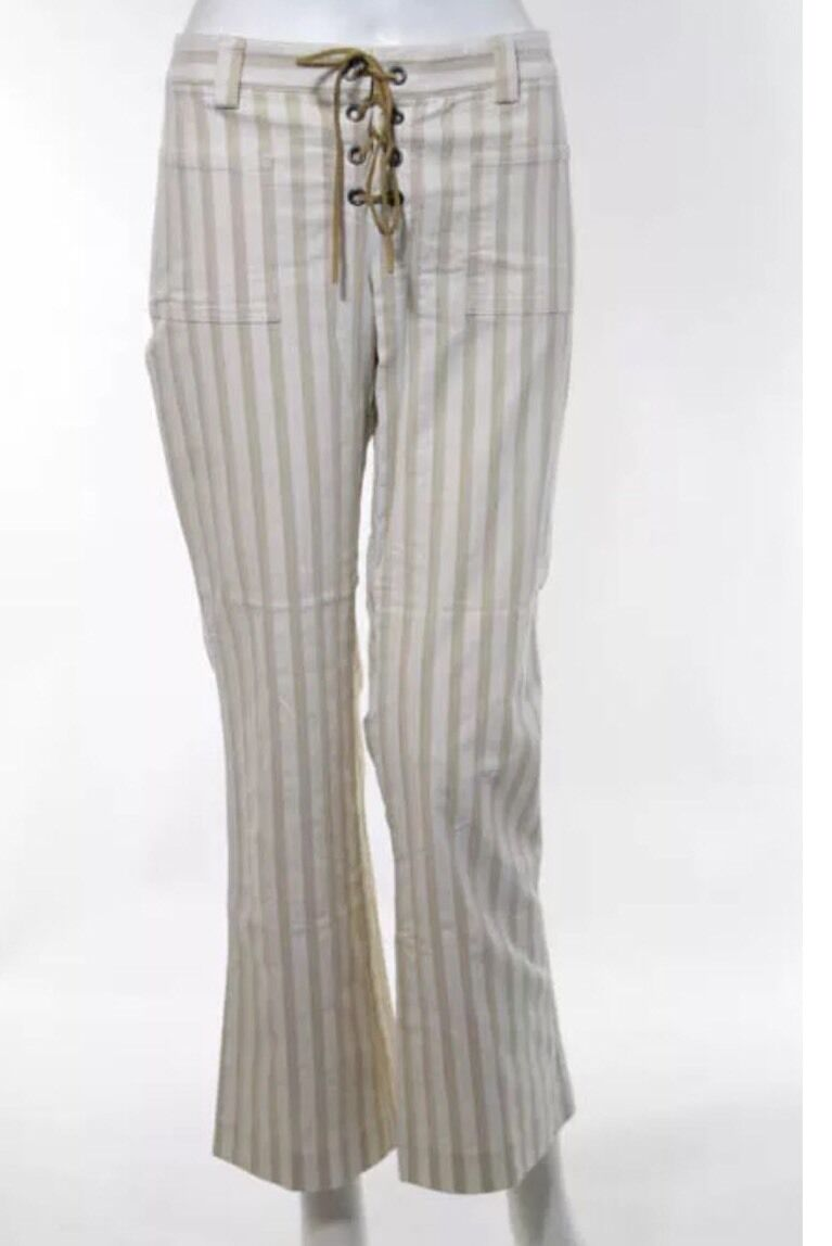 THEORY Wide Leg Lace Up Beige Stripe Cotton Flare Size 8 Near New