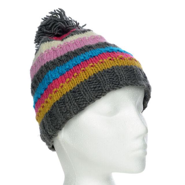 5ae0682b1c6 Funky Hand Knit Winter Woollen Beanie Brighton Bobble Hat One Size ...