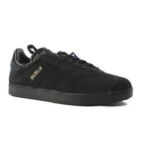 225a35b46c7 Image is loading Adidas-Originals-Gazelle-Black-Metallic-Gold-Mens-Lifestyle -