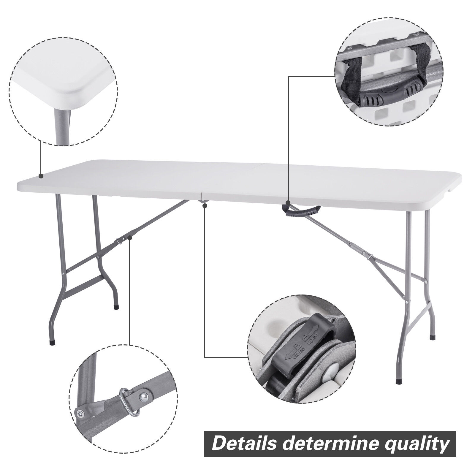 - 4/6FT Portable Plastic Folding Picnic Table Outdoor Wedding Dining