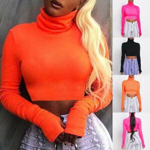 Women-Solid-Fluorescent-Color-Turtleneck-T-Shirt-Long-Sleeve-Short-Blouse-Tops