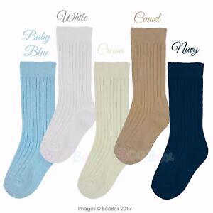 1ca87319a6da Baby Boys   Boys 3 4 Knee High Spanish Style Plain Ribbed Socks ...