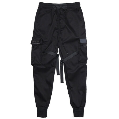 Men Tactical Cargo Harem Pants Joggers Street Hip Hop Trousers Punk Cool Black