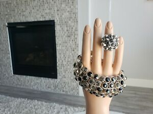 Silver-Pewter-Avant-Gard-Chunky-Black-Clear-Crystal-Bracelet-Ring-Set-8-Signed
