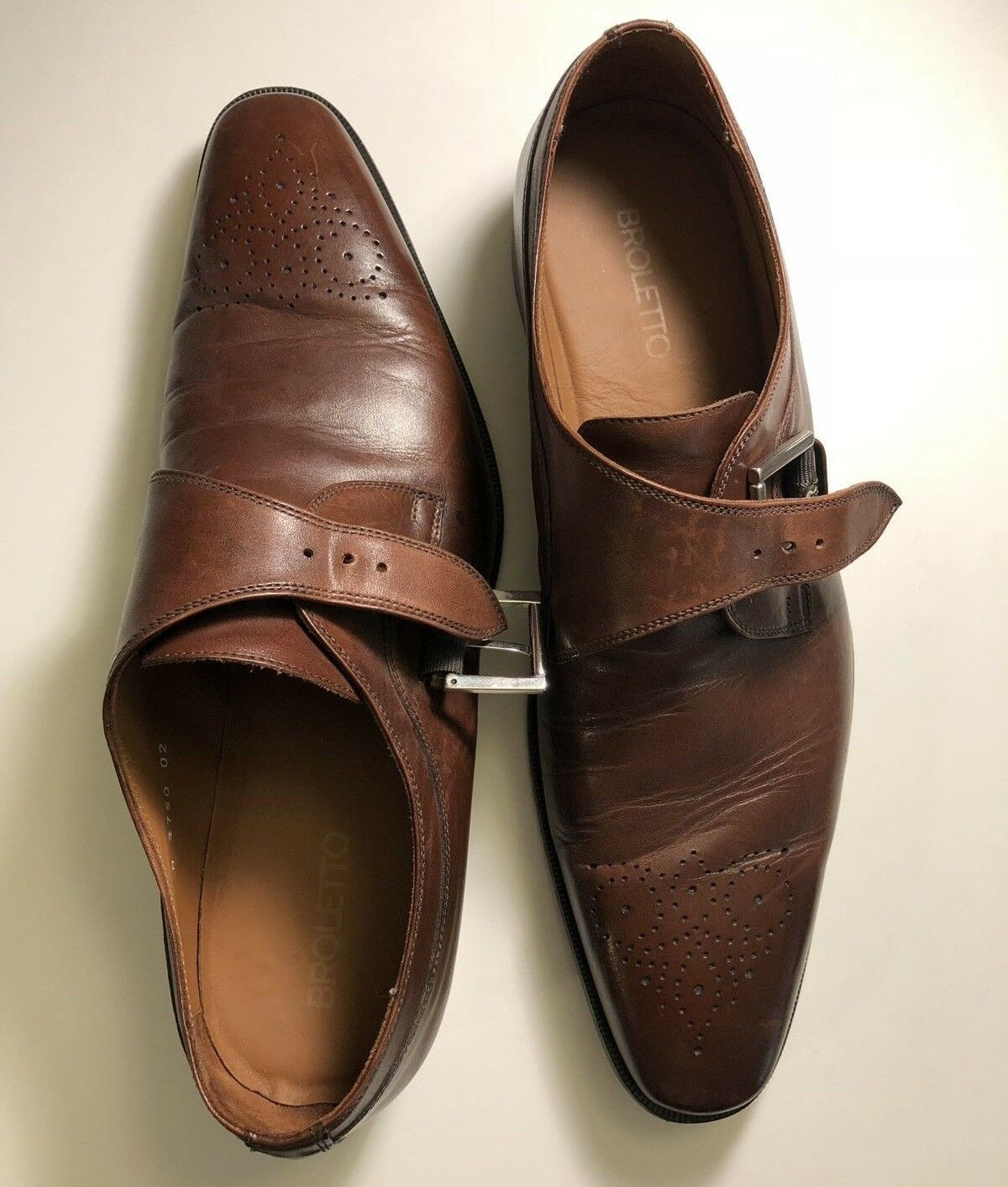Broletto   McKinley Monk Strap Leather Brogues   Italian Dress shoes   Sz 12
