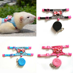 PM-Pet-Rabbit-Hamster-Bell-Bowtie-Striped-Harness-Vest-Leash-Traction-Rope-No