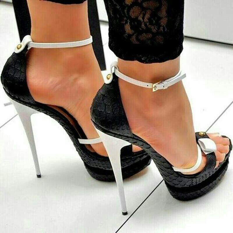Femme Cheville Boucle Noeud Sandales Stiletto Talons Hauts Bout Ouvert Chaussures EUR 35-47