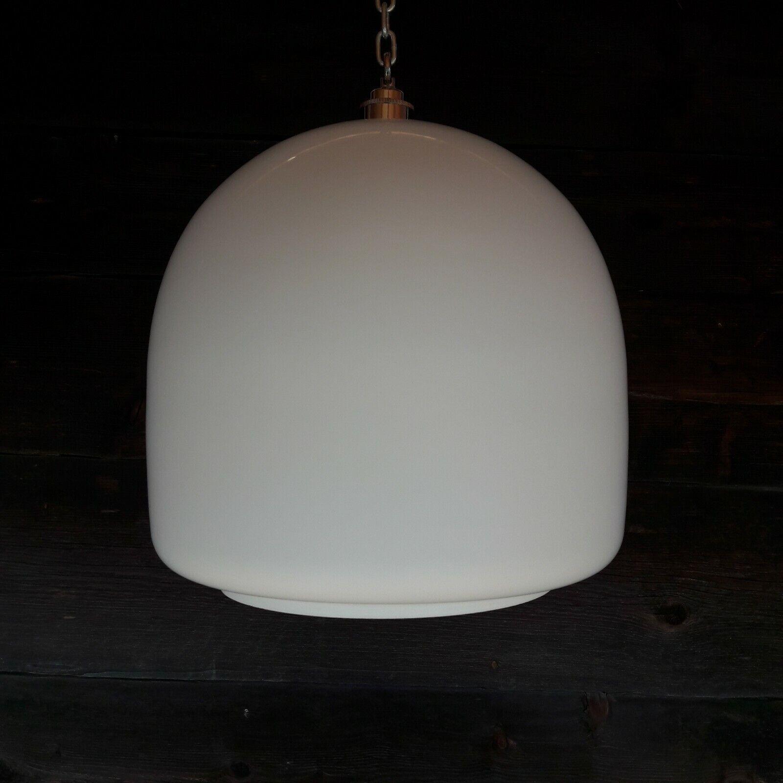 LARGE ANTIQUE EUROPEAN OPALINE Weiß GLASS PENDANT CEILING LIGHT