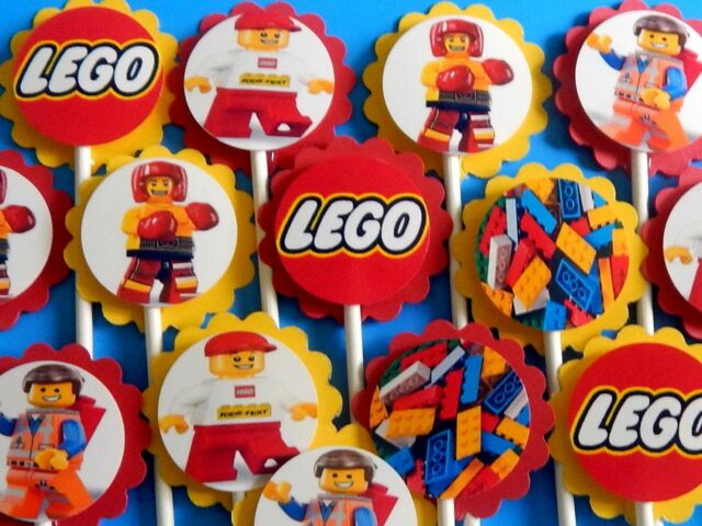 15 LEGO  Cupcake Toppers Birthday Party Favors, Baby Shower decoration 15