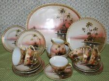L&co Nippon/Shofu Japonés Pintado A Mano Y Dorada juego de té para seis c.1940's