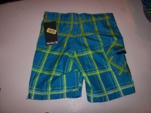 NEW Hurley turquoise blue plaid boys youth swim board shorts swimsuit sz 6