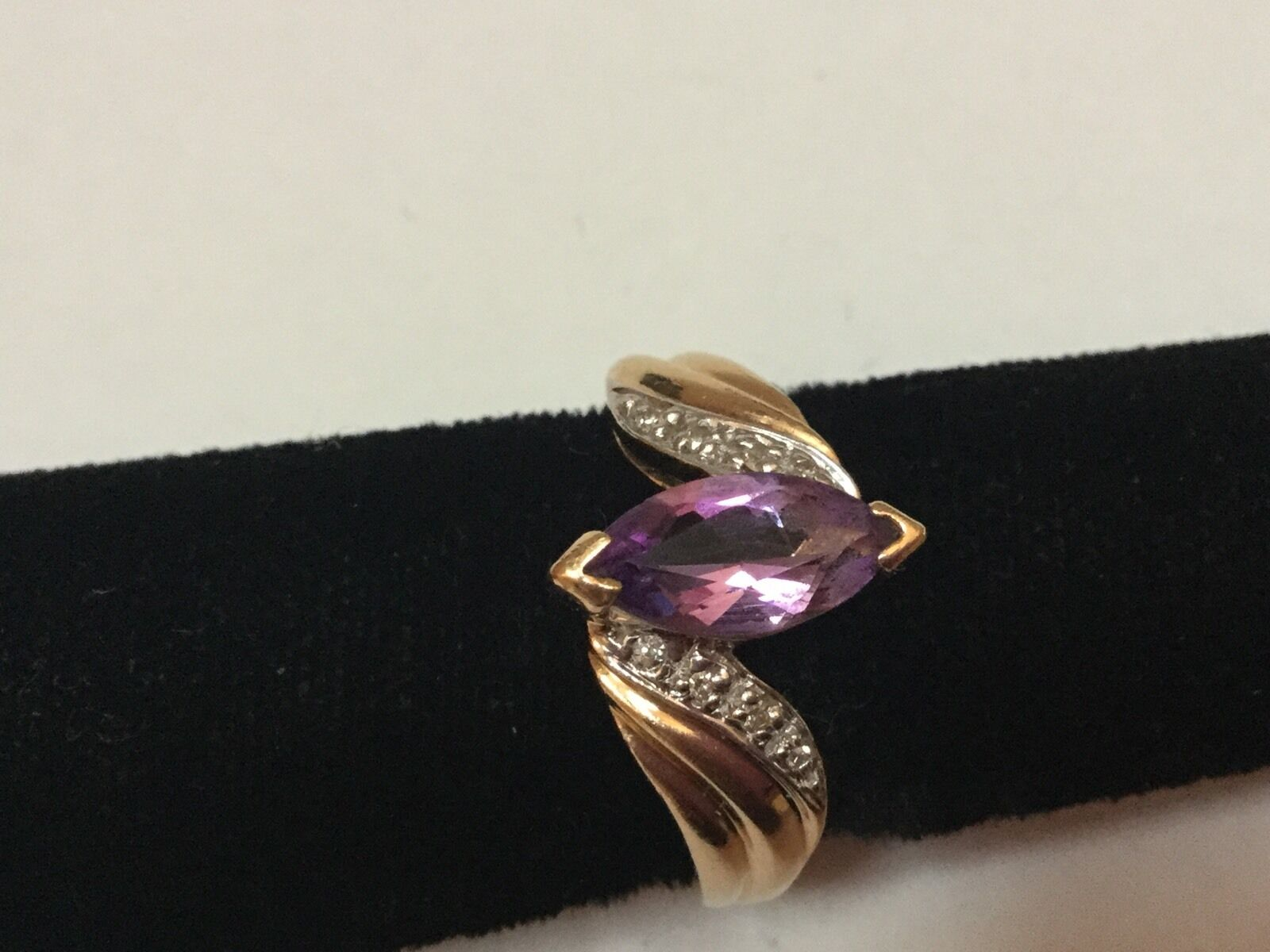 Vintage 14k Yellow gold .75 CT Marquise Shaped Amethyst Diamonds Ring Size 6.5
